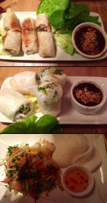 Top to bottom: Cha Gio (Pork Spring Rolls), Goi Cuon Ga (Chicken Summer Rolls),  Goi Du Du (Papaya Salad)
