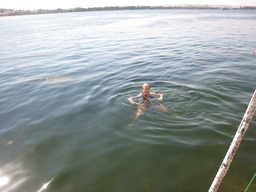 A quick dip in the Nile near the end of 3 months in the Middle East. No wonder I couldn't tell what was upsetting my tummy!
