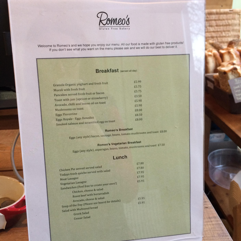 Romeos Cafe Menu Price