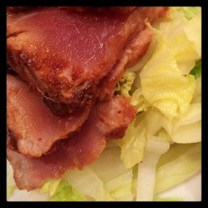 I like my tuna steak rare. Here with a home made teriyaki marinade and steamed greens.