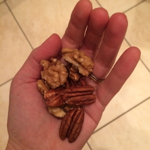 What a portion of nuts should look like for me (not the whole bag nibbled stealthily through the day)