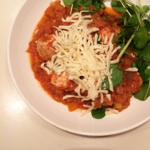 Would have been stuffed peppers, actually became turkey meatballs in tomato & fennel sauce