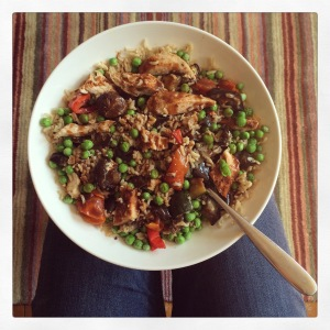 Brown rice and peas! As well as some chicken and roasted veg cooked with a BBQ rub. I use the Tilda sachets of rice - so quick and easy.