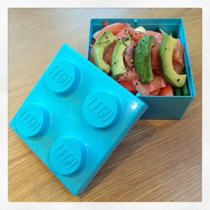 No choice but to borrow Baby A's lunchbox for work on this day - a big green salad is hiding under some delicious smoked salmon and avocado. Fats ahoy!