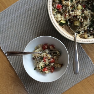 After a surprise visit to the hospital at the start of the month (gallstones!) I wanted to be kind to myself. This was one of many plant-based concoctions: a cauliflower rice salad with roasted veg and fresh herbs.