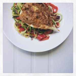 Back in action with the final 4 weeks of my 90 day plan: peanut butter chicken with stir fried courgette noodles.