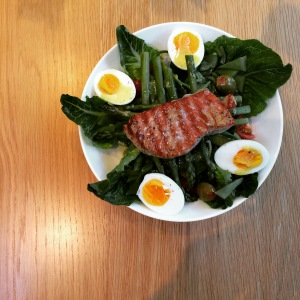 I love it when my Gluten-Eating Husband cooks. Unfortunately it's not so often with him busy at work and me working part time - just so much easier for me to put dinner on. This tuna nicoise with a rare steak from our fishmonger was delicious