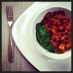 Hearty and delicious sweet potato and black bean chilli. I made it a bit too spicy for Baby A - oh well, more for us!