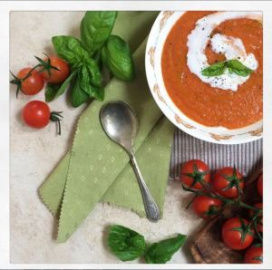 Baby A seems to be ok with soya - hooray! It's opening up more options for us, like this (soya) cream of tomato soup - it's hiding all kinds of vegetables inside